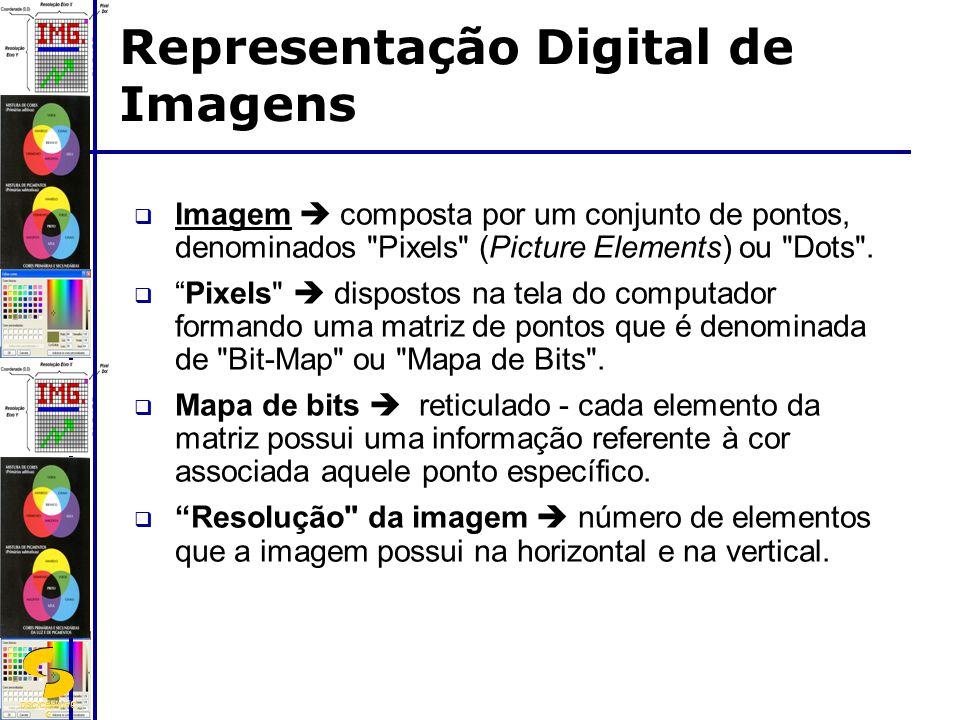 DSC/CEEI/UFC G Imagem  matriz de pontos ou pixels, com resolução horizontal (eixo X) e vertical (eixo Y), para cada ponto da matriz tem-se uma cor associada (obtida de forma direta ou através de uma tabela de acesso indireto - tabela de palette ).