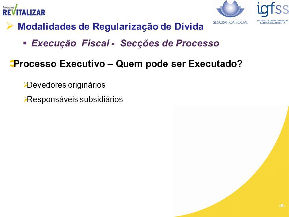 12  Modalidades de Regularização de Dívida  Execução Fiscal - Secções de Processo  Processo Executivo – Quem pode ser Executado?  Devedores origin