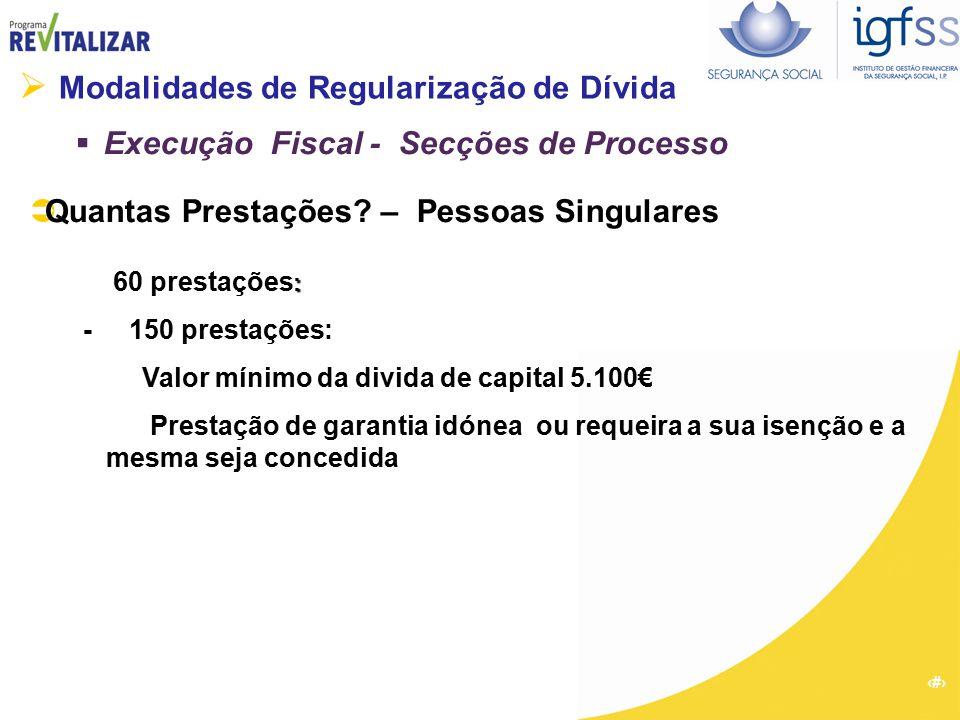 14  Modalidades de Regularização de Dívida  Execução Fiscal - Secções de Processo  Quantas Prestações? – Pessoas Singulares : 60 prestações : - 150