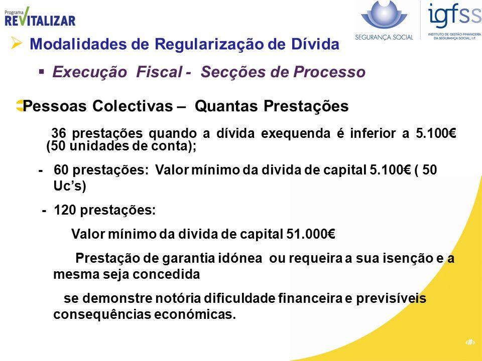 15  Modalidades de Regularização de Dívida  Execução Fiscal - Secções de Processo  Pessoas Colectivas – Quantas Prestações 36 prestações quando a d