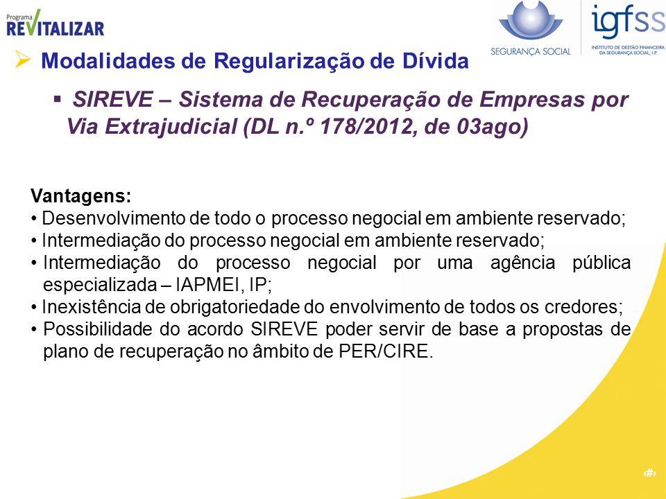 18  Modalidades de Regularização de Dívida  SIREVE – Sistema de Recuperação de Empresas por Via Extrajudicial (DL n.º 178/2012, de 03ago) Vantagens: