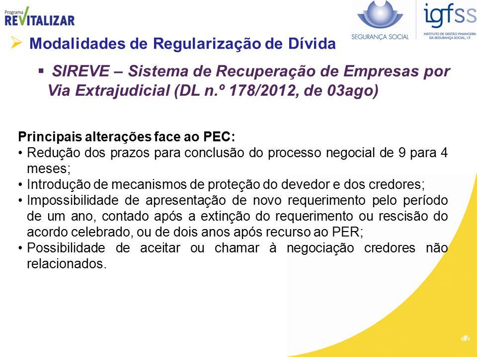 19  Modalidades de Regularização de Dívida  SIREVE – Sistema de Recuperação de Empresas por Via Extrajudicial (DL n.º 178/2012, de 03ago) Principais