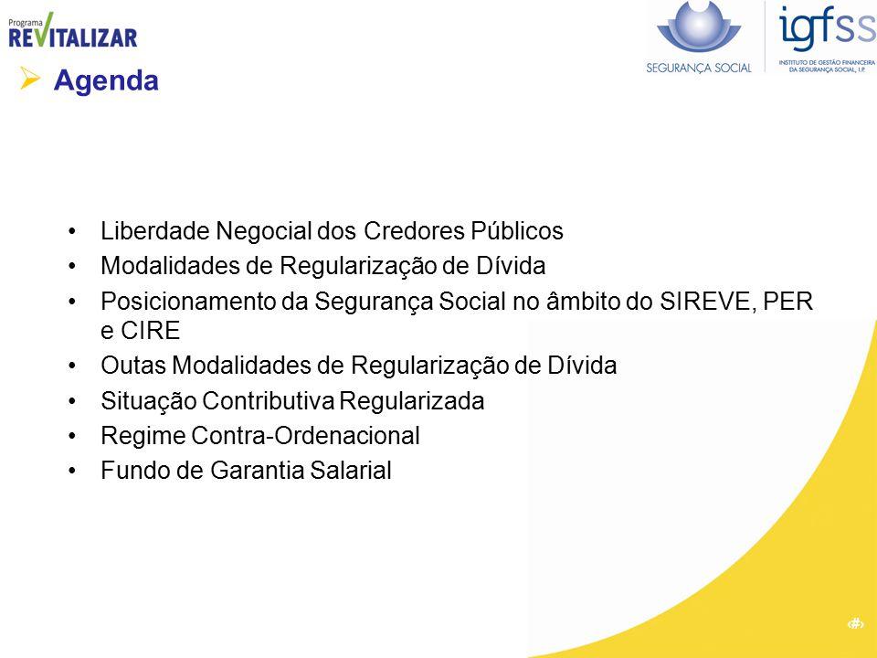 2  Agenda Liberdade Negocial dos Credores Públicos Modalidades de Regularização de Dívida Posicionamento da Segurança Social no âmbito do SIREVE, PER