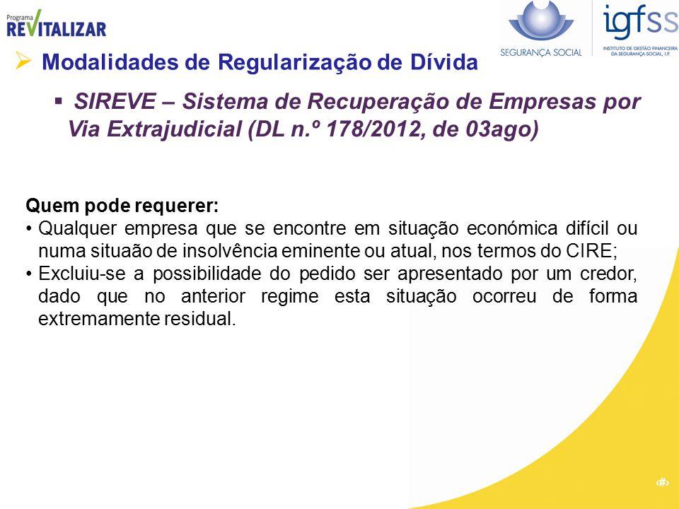20  Modalidades de Regularização de Dívida  SIREVE – Sistema de Recuperação de Empresas por Via Extrajudicial (DL n.º 178/2012, de 03ago) Quem pode