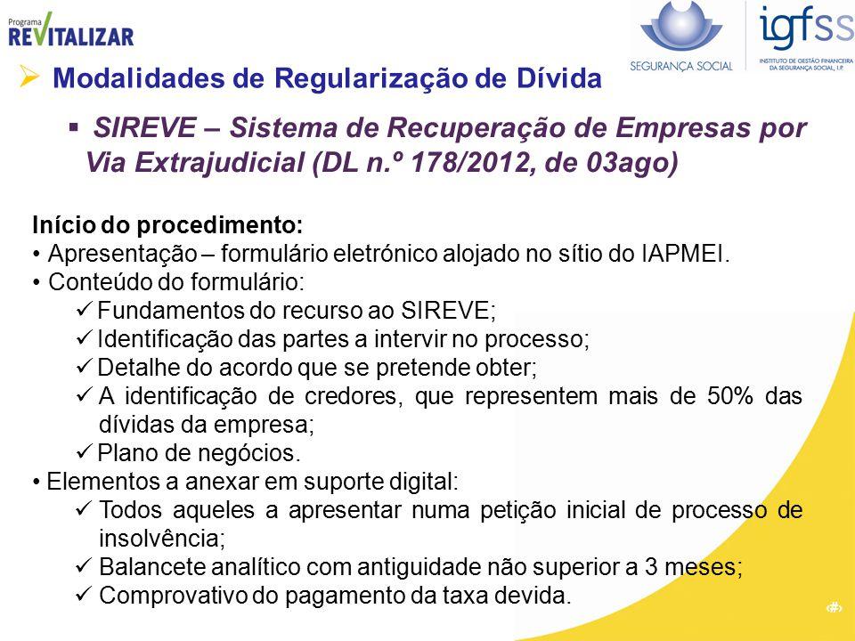 21  Modalidades de Regularização de Dívida  SIREVE – Sistema de Recuperação de Empresas por Via Extrajudicial (DL n.º 178/2012, de 03ago) Início do