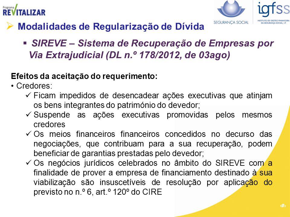22  Modalidades de Regularização de Dívida  SIREVE – Sistema de Recuperação de Empresas por Via Extrajudicial (DL n.º 178/2012, de 03ago) Efeitos da
