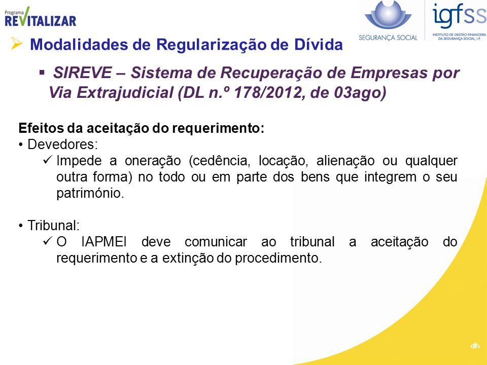 23  Modalidades de Regularização de Dívida  SIREVE – Sistema de Recuperação de Empresas por Via Extrajudicial (DL n.º 178/2012, de 03ago) Efeitos da