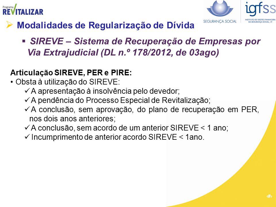 25  Modalidades de Regularização de Dívida  SIREVE – Sistema de Recuperação de Empresas por Via Extrajudicial (DL n.º 178/2012, de 03ago) Articulaçã