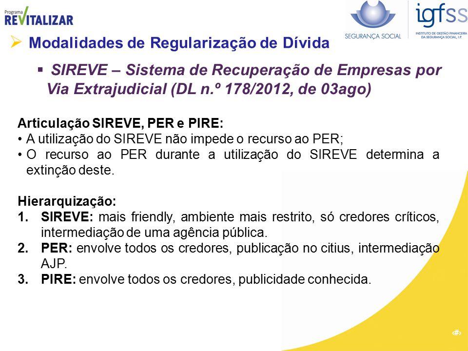 26  Modalidades de Regularização de Dívida  SIREVE – Sistema de Recuperação de Empresas por Via Extrajudicial (DL n.º 178/2012, de 03ago) Articulaçã