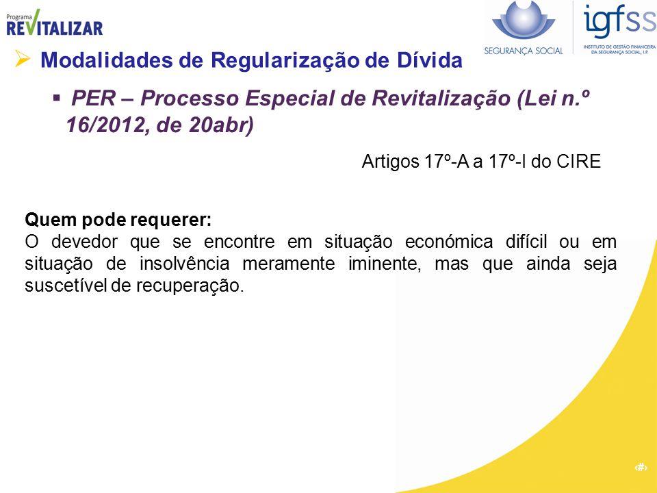 27  Modalidades de Regularização de Dívida  PER – Processo Especial de Revitalização (Lei n.º 16/2012, de 20abr) Quem pode requerer: O devedor que s