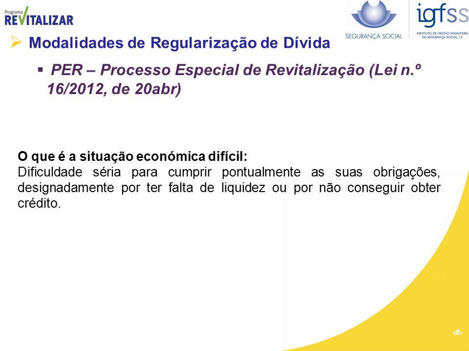 28  Modalidades de Regularização de Dívida  PER – Processo Especial de Revitalização (Lei n.º 16/2012, de 20abr) O que é a situação económica difíci
