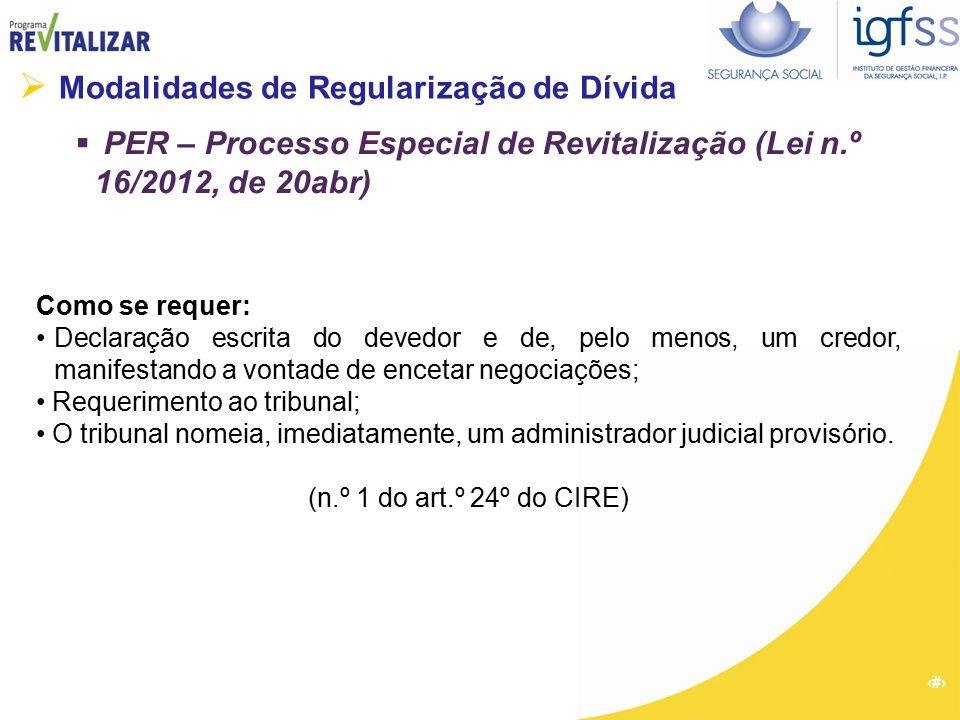 29  Modalidades de Regularização de Dívida  PER – Processo Especial de Revitalização (Lei n.º 16/2012, de 20abr) Como se requer: Declaração escrita