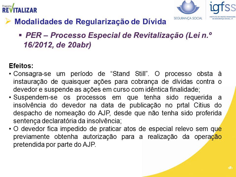 31  Modalidades de Regularização de Dívida  PER – Processo Especial de Revitalização (Lei n.º 16/2012, de 20abr) Efeitos: Consagra-se um período de