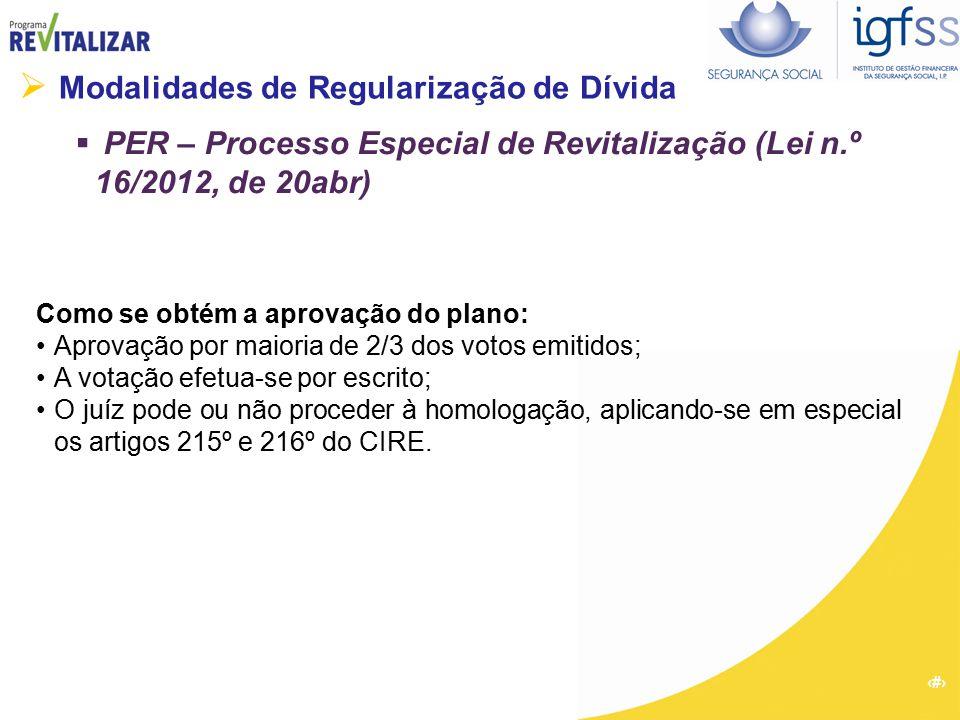 32  Modalidades de Regularização de Dívida  PER – Processo Especial de Revitalização (Lei n.º 16/2012, de 20abr) Como se obtém a aprovação do plano: