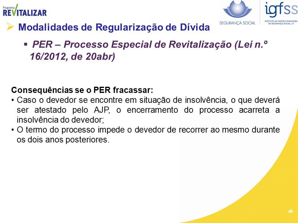 33  Modalidades de Regularização de Dívida  PER – Processo Especial de Revitalização (Lei n.º 16/2012, de 20abr) Consequências se o PER fracassar: C