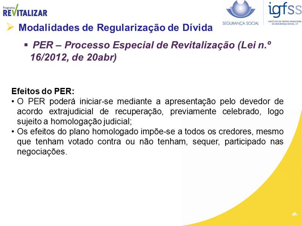 34  Modalidades de Regularização de Dívida  PER – Processo Especial de Revitalização (Lei n.º 16/2012, de 20abr) Efeitos do PER: O PER poderá inicia