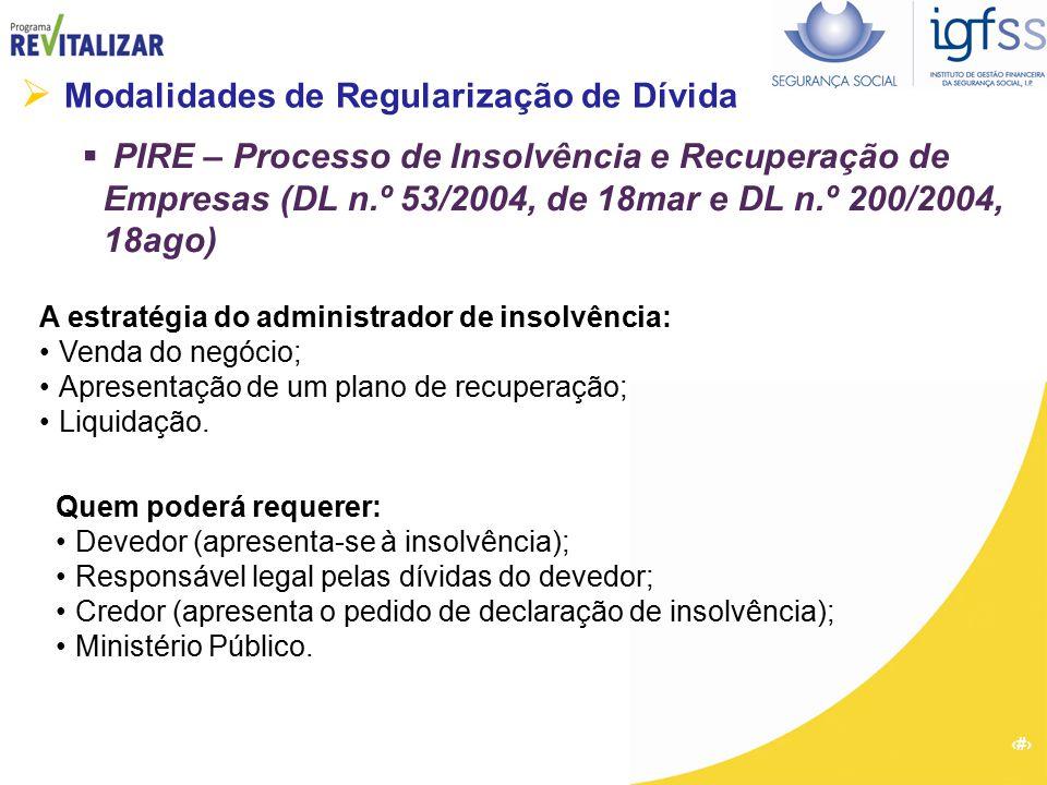 36  Modalidades de Regularização de Dívida  PIRE – Processo de Insolvência e Recuperação de Empresas (DL n.º 53/2004, de 18mar e DL n.º 200/2004, 18