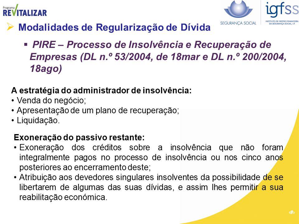 37  Modalidades de Regularização de Dívida  PIRE – Processo de Insolvência e Recuperação de Empresas (DL n.º 53/2004, de 18mar e DL n.º 200/2004, 18