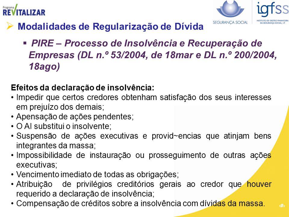 38  Modalidades de Regularização de Dívida  PIRE – Processo de Insolvência e Recuperação de Empresas (DL n.º 53/2004, de 18mar e DL n.º 200/2004, 18