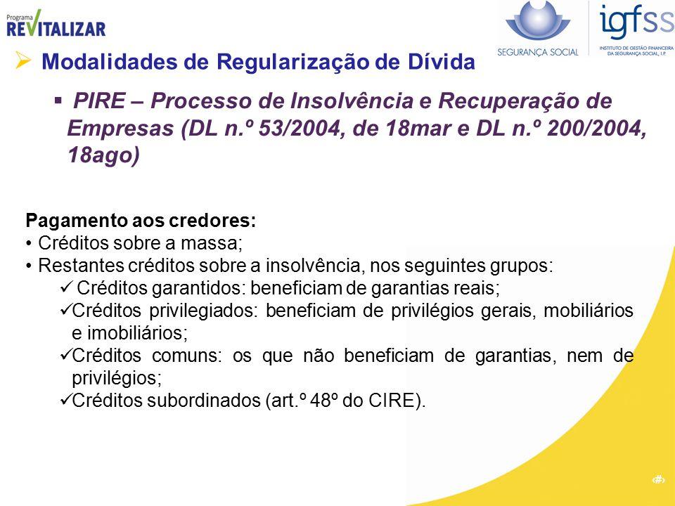 40  Modalidades de Regularização de Dívida  PIRE – Processo de Insolvência e Recuperação de Empresas (DL n.º 53/2004, de 18mar e DL n.º 200/2004, 18