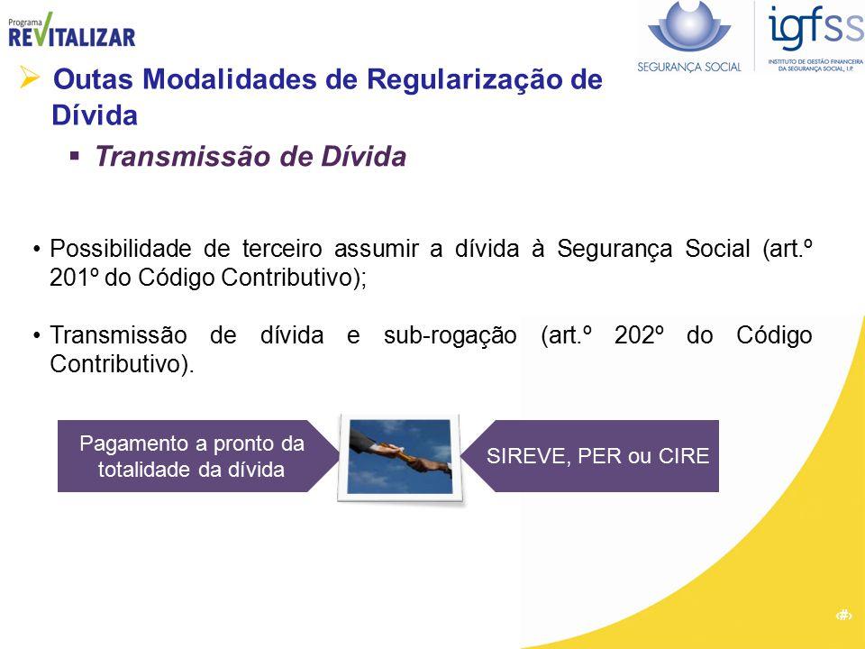52  Outas Modalidades de Regularização de Dívida  Transmissão de Dívida Possibilidade de terceiro assumir a dívida à Segurança Social (art.º 201º do
