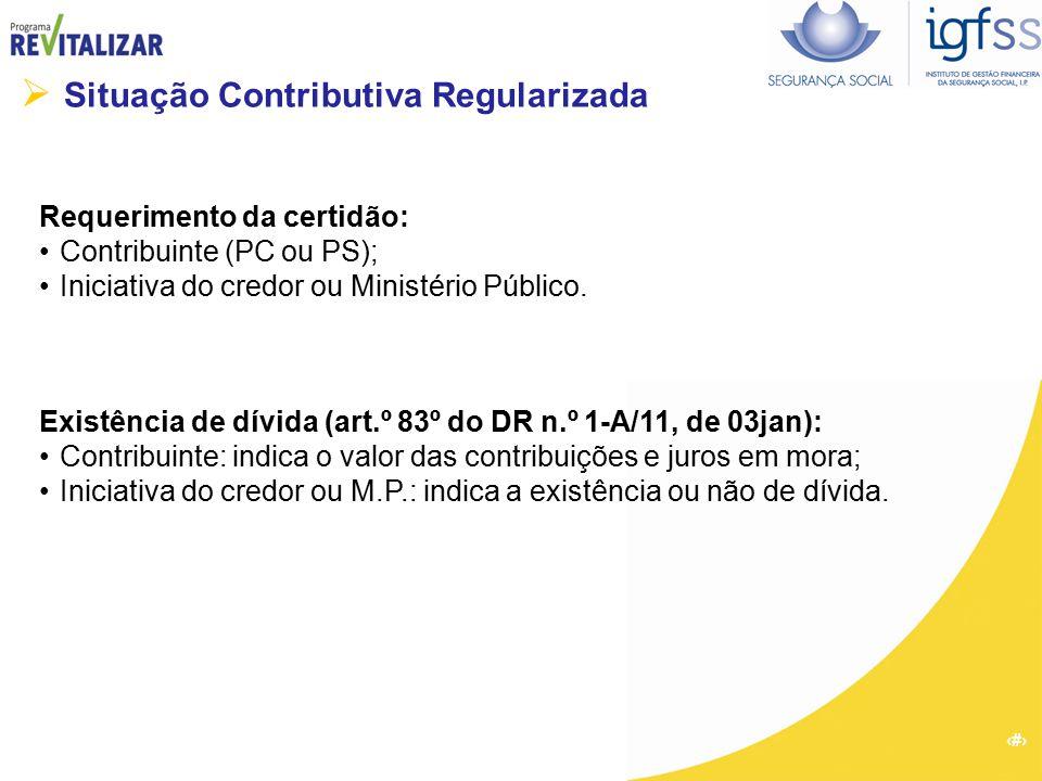 55  Situação Contributiva Regularizada Requerimento da certidão: Contribuinte (PC ou PS); Iniciativa do credor ou Ministério Público. Existência de d