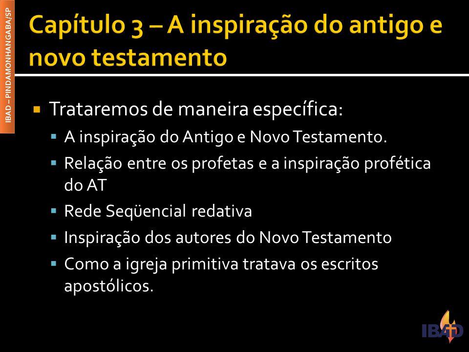 IBAD – PINDAMONHANGABA/SP  3.1 – A inspiração do Antigo Testamento  Podemos ver a inspiração por fatores como: ▪ 3.1.1 – Profetas: Termos afins e credibilidade ▪ 3.1.2 – Os profetas e a função profética ▪ 3.1.3 – Os profetas e as escrituras ▪ 3.1.4 – Os profetas e a rede seqüencial redativa  3.2 – A inspiração do Novo Testamento  Se os textos da antiga aliança são inspirados, muito mais os da nova aliança.