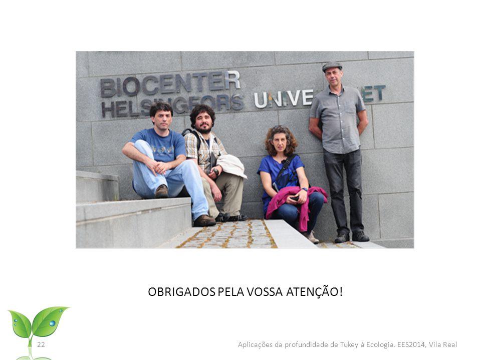 22 Aplicações da profundidade de Tukey à Ecologia. EES2014, Vila Real OBRIGADOS PELA VOSSA ATENÇÃO!