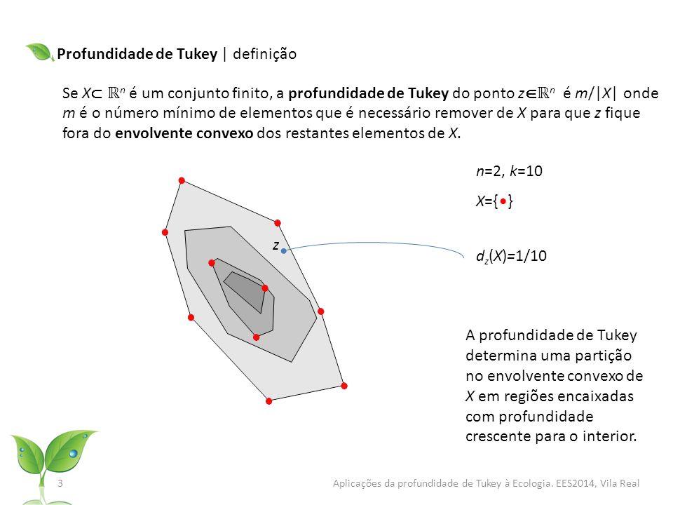 Profundidade de Tukey | definição Se X  ℝ n é um conjunto finito, a profundidade de Tukey do ponto z  ℝ n é m/|X| onde m é o número mínimo de elementos que é necessário remover de X para que z fique fora do envolvente convexo dos restantes elementos de X.