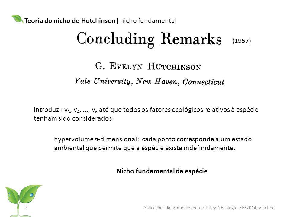 (1957) 8 Aplicações da profundidade de Tukey à Ecologia.