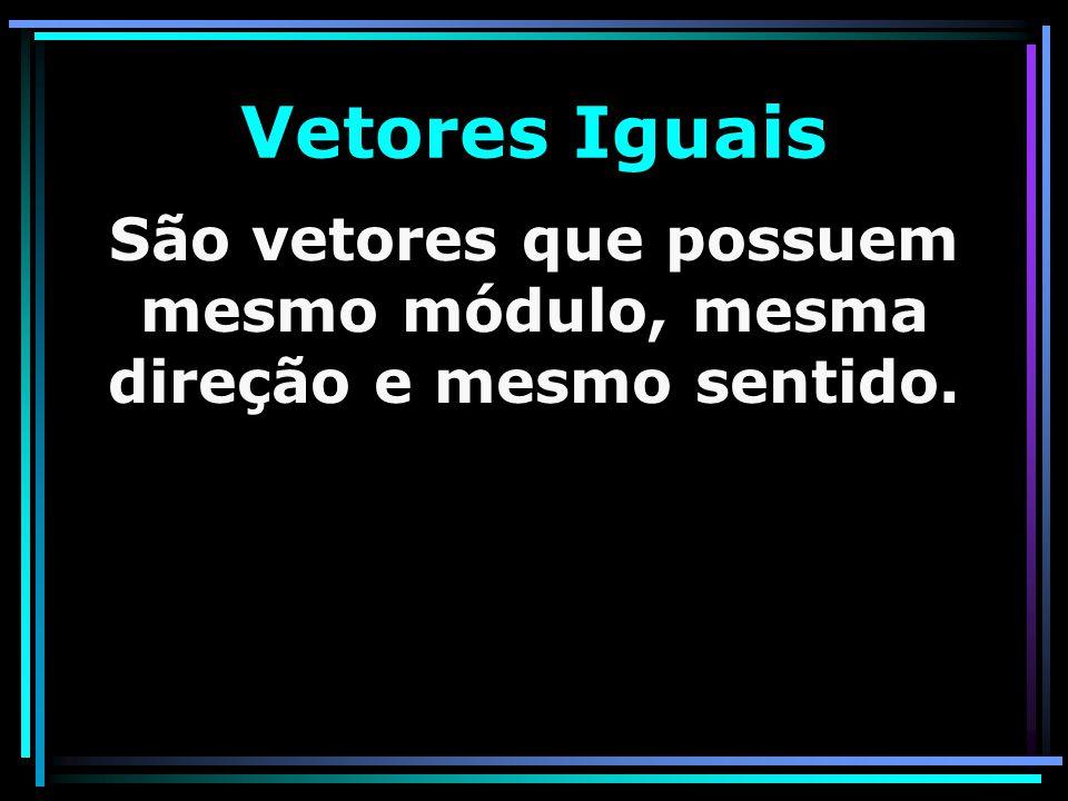 Vetores Iguais São vetores que possuem mesmo módulo, mesma direção e mesmo sentido.