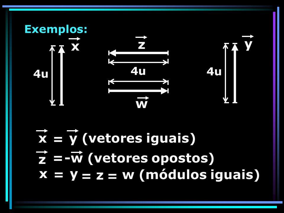 Exemplos: x 4u y w z xy (vetores iguais) = z =-w (vetores opostos) xy = z = w (módulos iguais) =