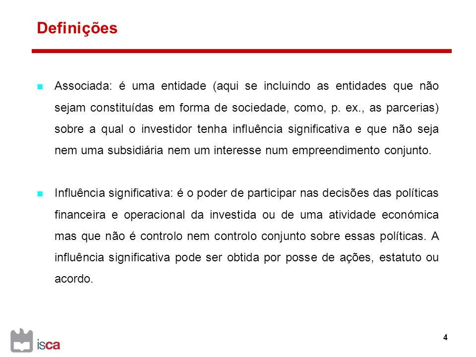 Divulgações Os investimentos em associadas contabilizados usando o MEP devem ser classificados como ativos não correntes.