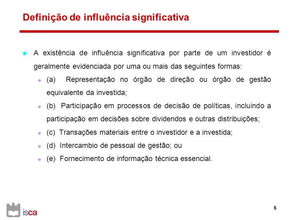 A nota de enquadramento à conta 41 - Investimentos financeiros Os investimentos financeiros que representem participações de capital são mensurados de acordo com os métodos indicados no quadro seguinte, conforme NCRF 13 - Interesses em empreendimentos conjuntos e investimentos em associadas, NCRF 15 - Investimentos em subsidiárias e consolidação e NCRF 27 - Instrumentos financeiros: 27 ParticipaçõesNas contas individuaisNas contas consolidadas Em subsidiáriasPor regra método da equivalência patrimonial.