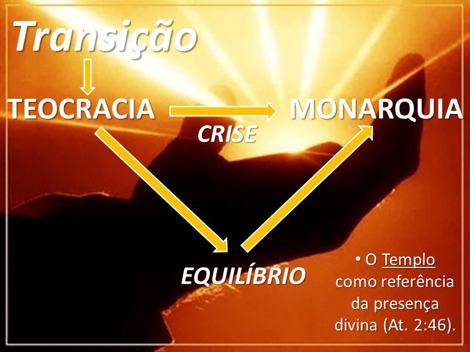 Transição TEOCRACIA MONARQUIA CRISE EQUILÍBRIO O Templo como referência da presença divina (At.