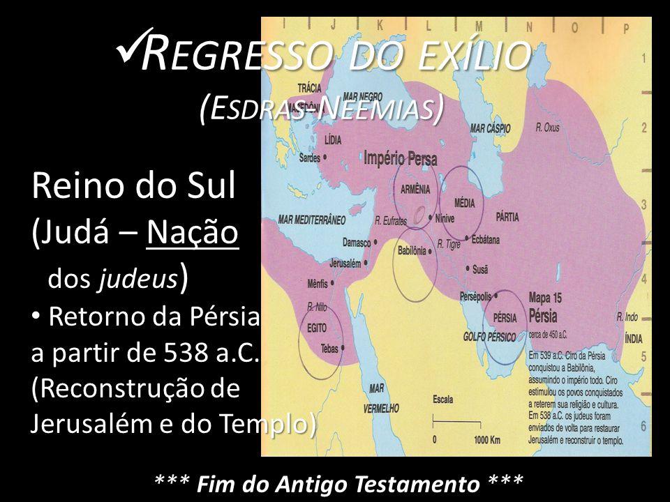R EGRESSO DO EXÍLIO R EGRESSO DO EXÍLIO (E SDRAS -N EEMIAS ) Reino do Sul (Judá – Nação dos judeus ) dos judeus ) Retorno da Pérsia Retorno da Pérsia a partir de 538 a.C.