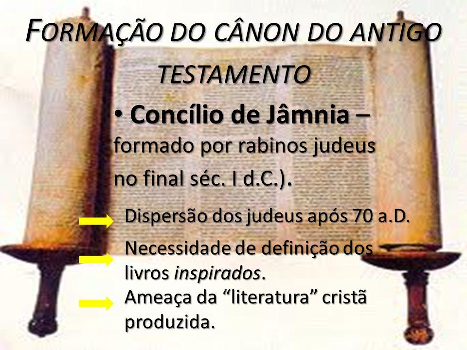 F ORMAÇÃO DO CÂNON DO ANTIGO TESTAMENTO Necessidade de definição dos livros inspirados.