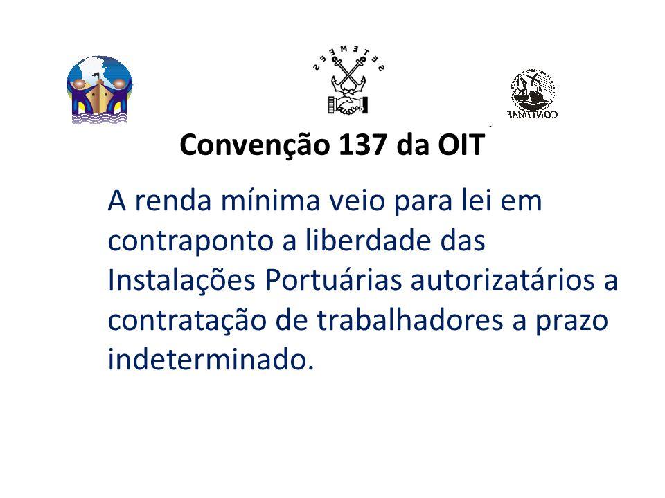 Convenção 137 da OIT A renda mínima veio para lei em contraponto a liberdade das Instalações Portuárias autorizatários a contratação de trabalhadores a prazo indeterminado.