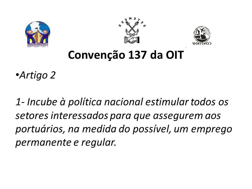 Convenção 137 da OIT Artigo 2 1- Incube à política nacional estimular todos os setores interessados para que assegurem aos portuários, na medida do possível, um emprego permanente e regular.