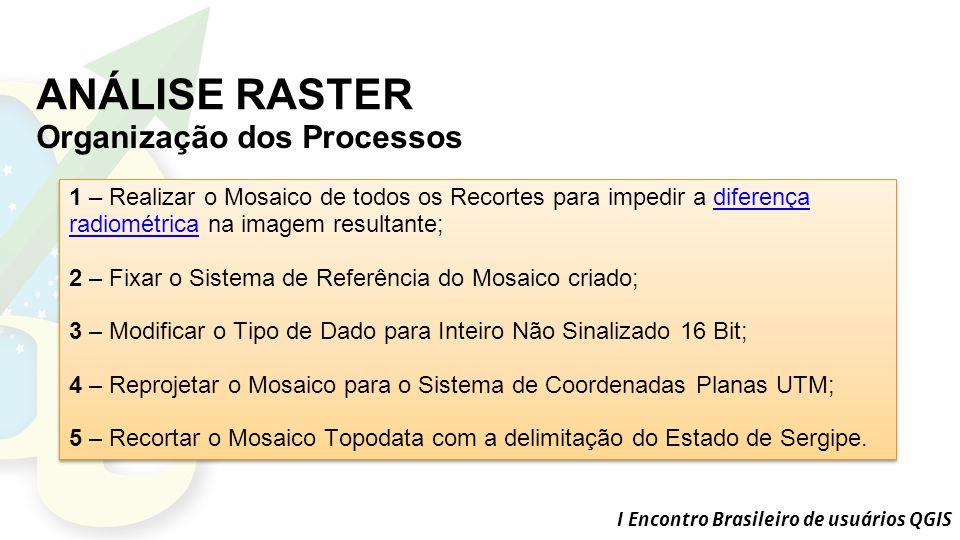 I Encontro Brasileiro de usuários QGIS ANÁLISE RASTER Organização dos Processos 1 – Realizar o Mosaico de todos os Recortes para impedir a diferença radiométrica na imagem resultante;diferença radiométrica 2 – Fixar o Sistema de Referência do Mosaico criado; 3 – Modificar o Tipo de Dado para Inteiro Não Sinalizado 16 Bit; 4 – Reprojetar o Mosaico para o Sistema de Coordenadas Planas UTM; 5 – Recortar o Mosaico Topodata com a delimitação do Estado de Sergipe.