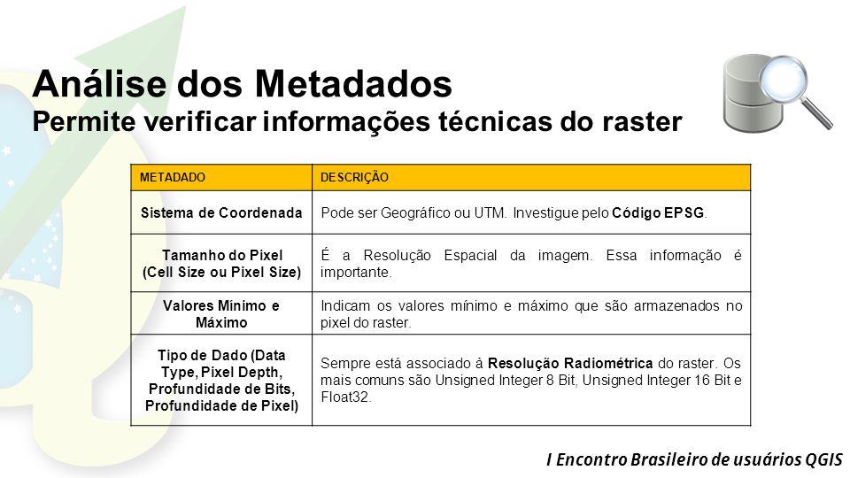 I Encontro Brasileiro de usuários QGIS METADADODESCRIÇÃO Sistema de CoordenadaPode ser Geográfico ou UTM.