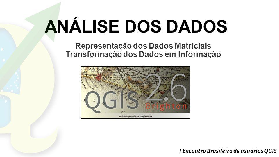 I Encontro Brasileiro de usuários QGIS ANÁLISE DOS DADOS Representação dos Dados Matriciais Transformação dos Dados em Informação