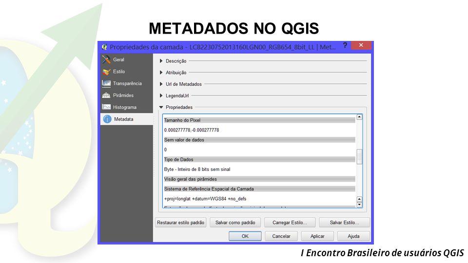 I Encontro Brasileiro de usuários QGIS METADADOS NO QGIS