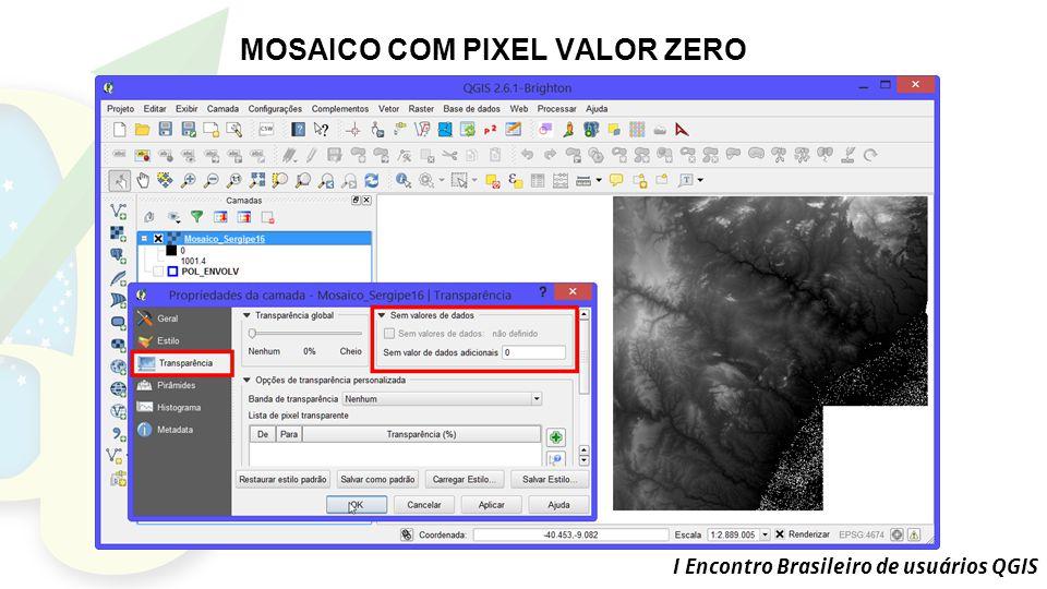 I Encontro Brasileiro de usuários QGIS MOSAICO COM PIXEL VALOR ZERO