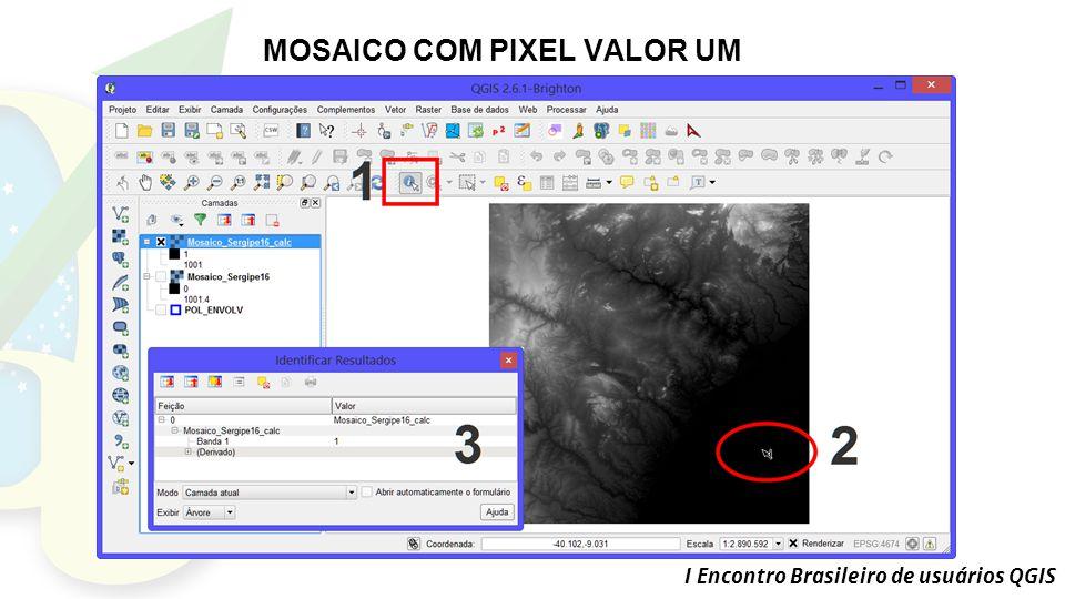 I Encontro Brasileiro de usuários QGIS MOSAICO COM PIXEL VALOR UM