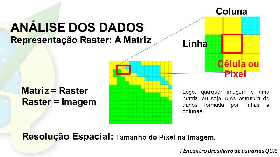 I Encontro Brasileiro de usuários QGIS ANÁLISE DOS DADOS Célula ou Pixel Linha Coluna Matriz = Raster Raster = Imagem Resolução Espacial: Tamanho do Pixel na Imagem.