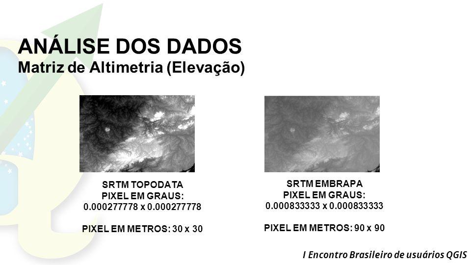 I Encontro Brasileiro de usuários QGIS ANÁLISE DOS DADOS Matriz de Altimetria (Elevação) SRTM EMBRAPA PIXEL EM GRAUS: 0.000833333 x 0.000833333 PIXEL EM METROS: 90 x 90 SRTM TOPODATA PIXEL EM GRAUS: 0.000277778 x 0.000277778 PIXEL EM METROS: 30 x 30