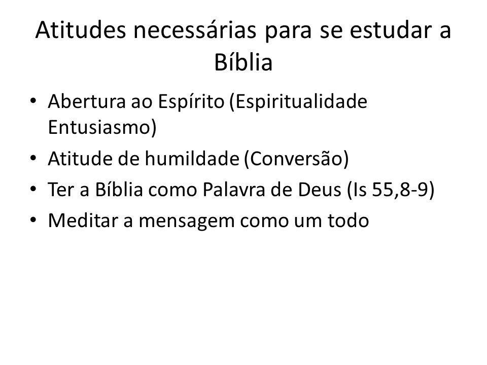Atitudes necessárias para se estudar a Bíblia Abertura ao Espírito (Espiritualidade Entusiasmo) Atitude de humildade (Conversão) Ter a Bíblia como Pal