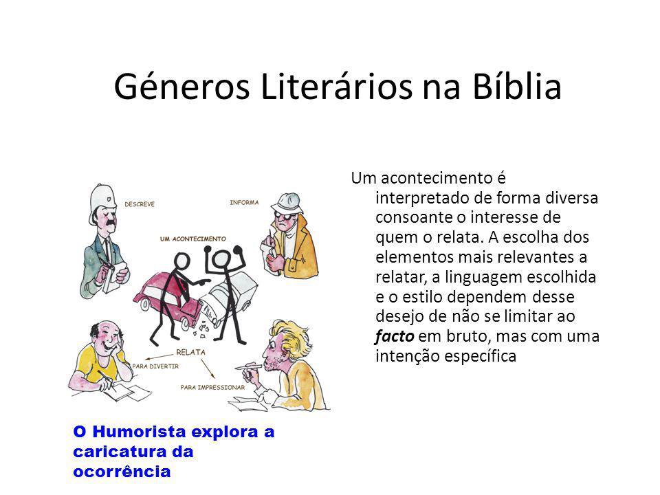 Géneros Literários na Bíblia Um acontecimento é interpretado de forma diversa consoante o interesse de quem o relata. A escolha dos elementos mais rel