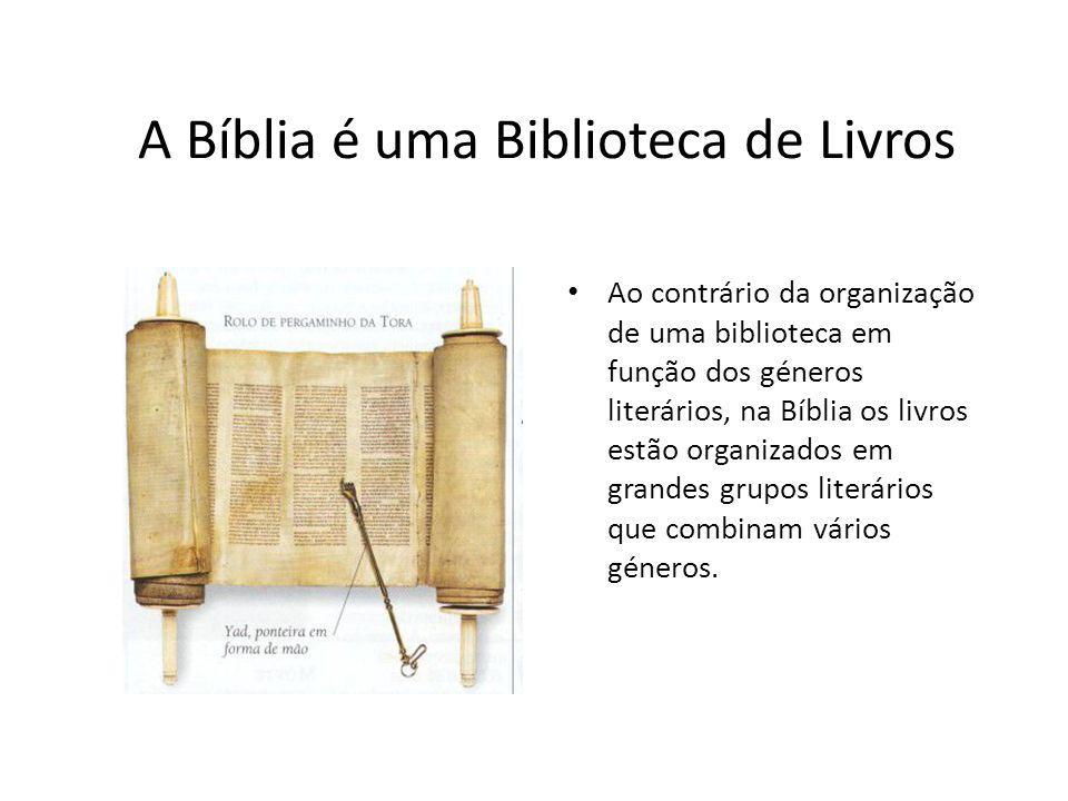 A Bíblia é uma Biblioteca de Livros Ao contrário da organização de uma biblioteca em função dos géneros literários, na Bíblia os livros estão organiza